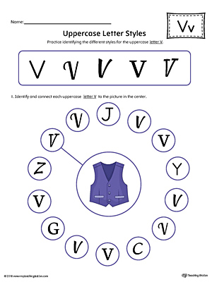 Practice identifying the different uppercase letter V styles with this colorful printable worksheet.