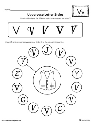 Practice identifying the different uppercase letter V styles with this kindergarten printable worksheet.