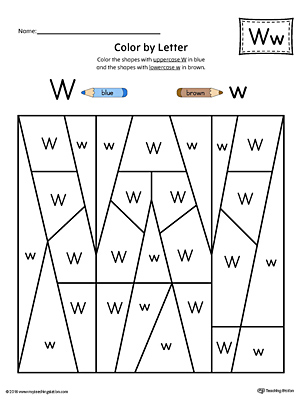 Uppercase Letter W Color-by-Letter Worksheet ...
