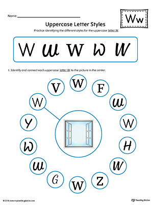Uppercase Letter W Styles Worksheet (Color)