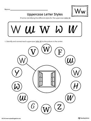 Uppercase Letter W Styles Worksheet