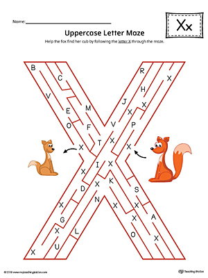 Uppercase Letter X Maze Worksheet (Color)