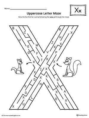Uppercase Letter X Maze Worksheet
