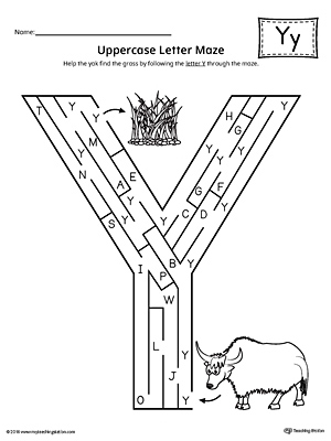 Uppercase Letter Y Maze Worksheet