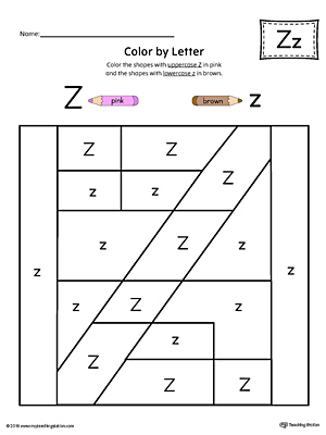 Uppercase Letter Z Color By Letter Worksheet
