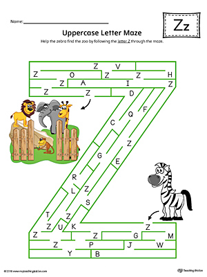 Uppercase Letter Z Maze Worksheet (Color)