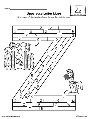 Uppercase Letter Z Maze Worksheet