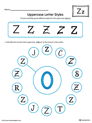 Uppercase Letter Z Styles Worksheet (Color)