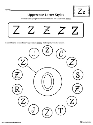 Uppercase Letter Z Styles Worksheet