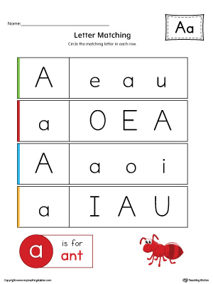 Letter A Uppercase and Lowercase Matching Worksheet (Color)