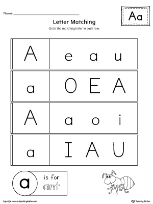letter a uppercase and lowercase matching worksheet