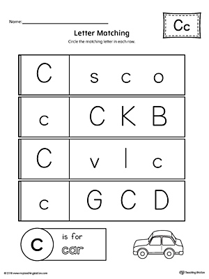 Letter C Uppercase and Lowercase Matching Worksheet