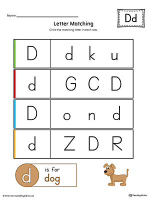 Letter D Uppercase and Lowercase Matching Worksheet (Color)