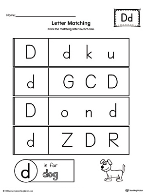 Letter D Uppercase and Lowercase Matching Worksheet