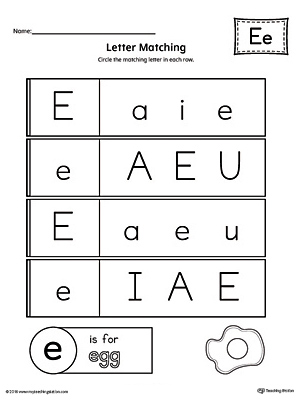learning the letter e worksheet. Black Bedroom Furniture Sets. Home Design Ideas