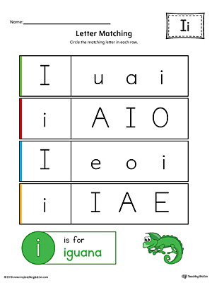 Letter I Uppercase and Lowercase Matching Worksheet (Color)