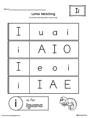 Letter I Uppercase and Lowercase Matching Worksheet