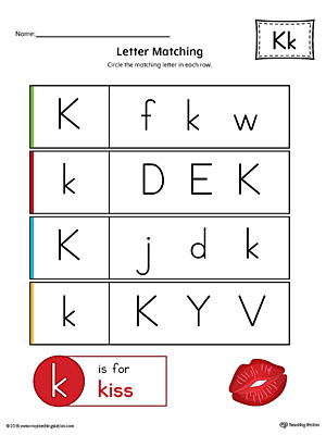 Letter K Uppercase and Lowercase Matching Worksheet (Color)