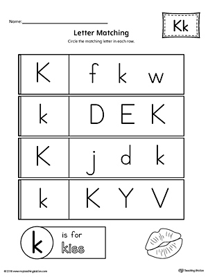 Letter K Uppercase and Lowercase Matching Worksheet