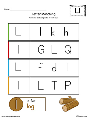 Letter L Uppercase and Lowercase Matching Worksheet (Color)