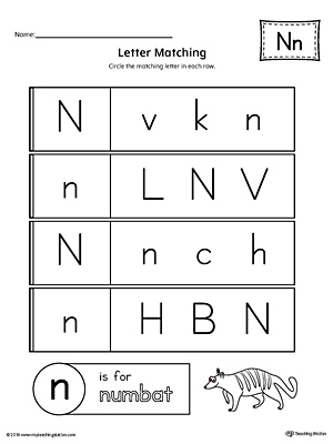 Letter N Uppercase and Lowercase Matching Worksheet