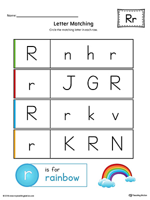 Letter R Uppercase and Lowercase Matching Worksheet (Color)
