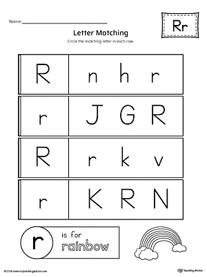 Letter R Uppercase and Lowercase Matching Worksheet ...
