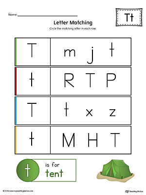 Letter T Uppercase and Lowercase Matching Worksheet (Color)