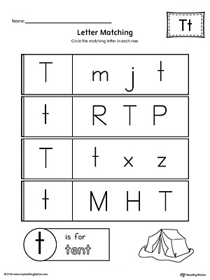Letter T Uppercase and Lowercase Matching Worksheet