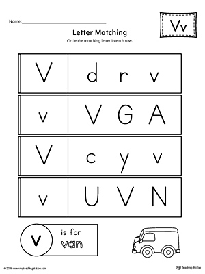 Letter V Uppercase and Lowercase Matching Worksheet