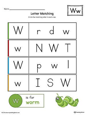 Use the Letter W Uppercase and Lowercase Matching Printable Worksheet to help your preschooler to match upper to lowercase letters.