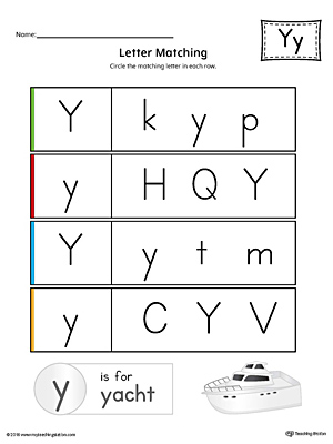Letter Y Uppercase and Lowercase Matching Worksheet (Color)