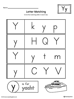 Letter Y Uppercase and Lowercase Matching Worksheet