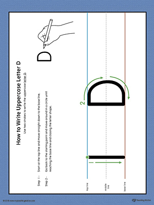 How to Write Uppercase Letter D Printable Poster (Color)
