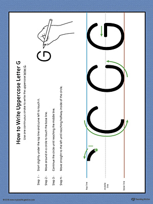 How to Write Uppercase Letter G Printable Poster (Color)