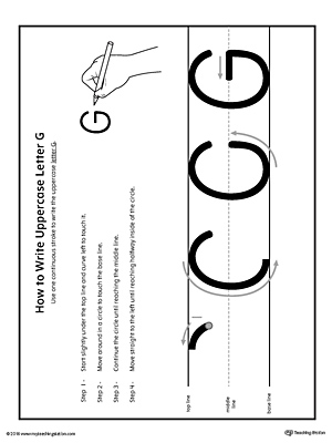 How to Write Uppercase Letter G Printable Poster