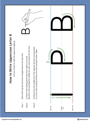 How to Write Uppercase Letter B Printable Poster (Color)