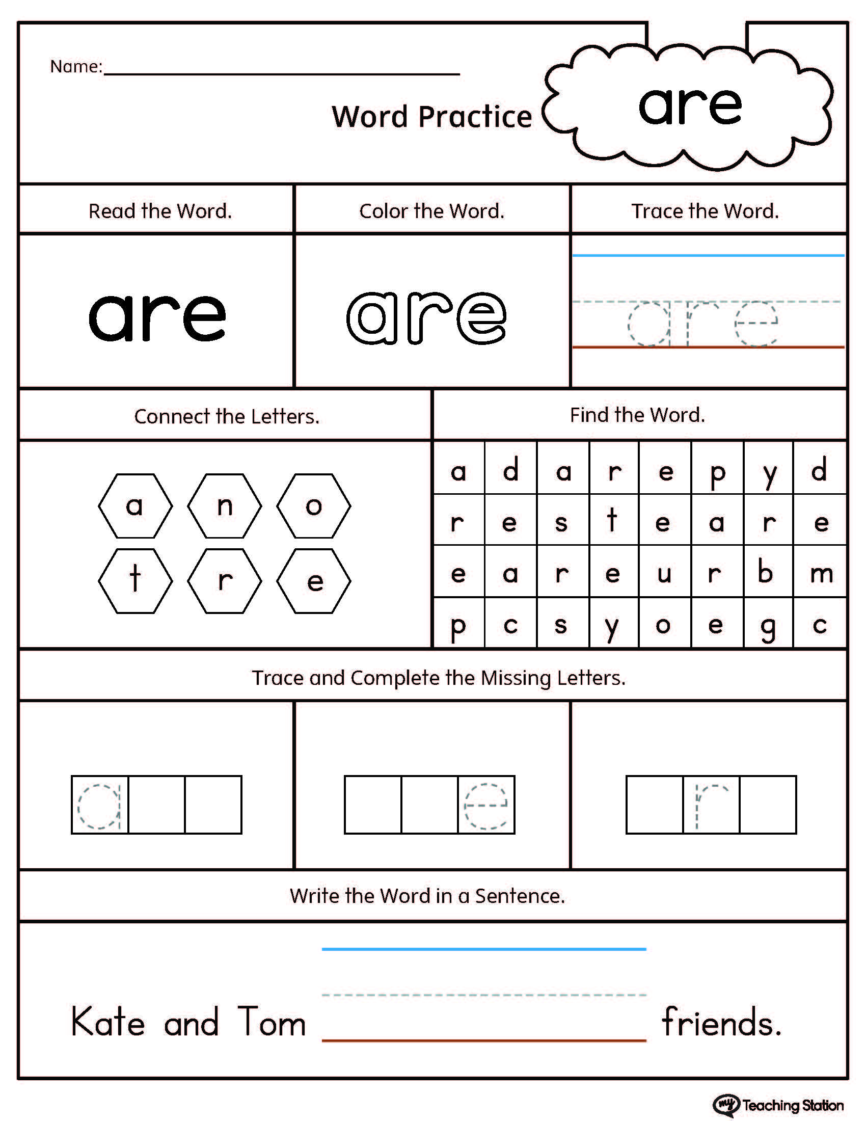 Kindergarten High Frequency Words Printable Worksheets ...