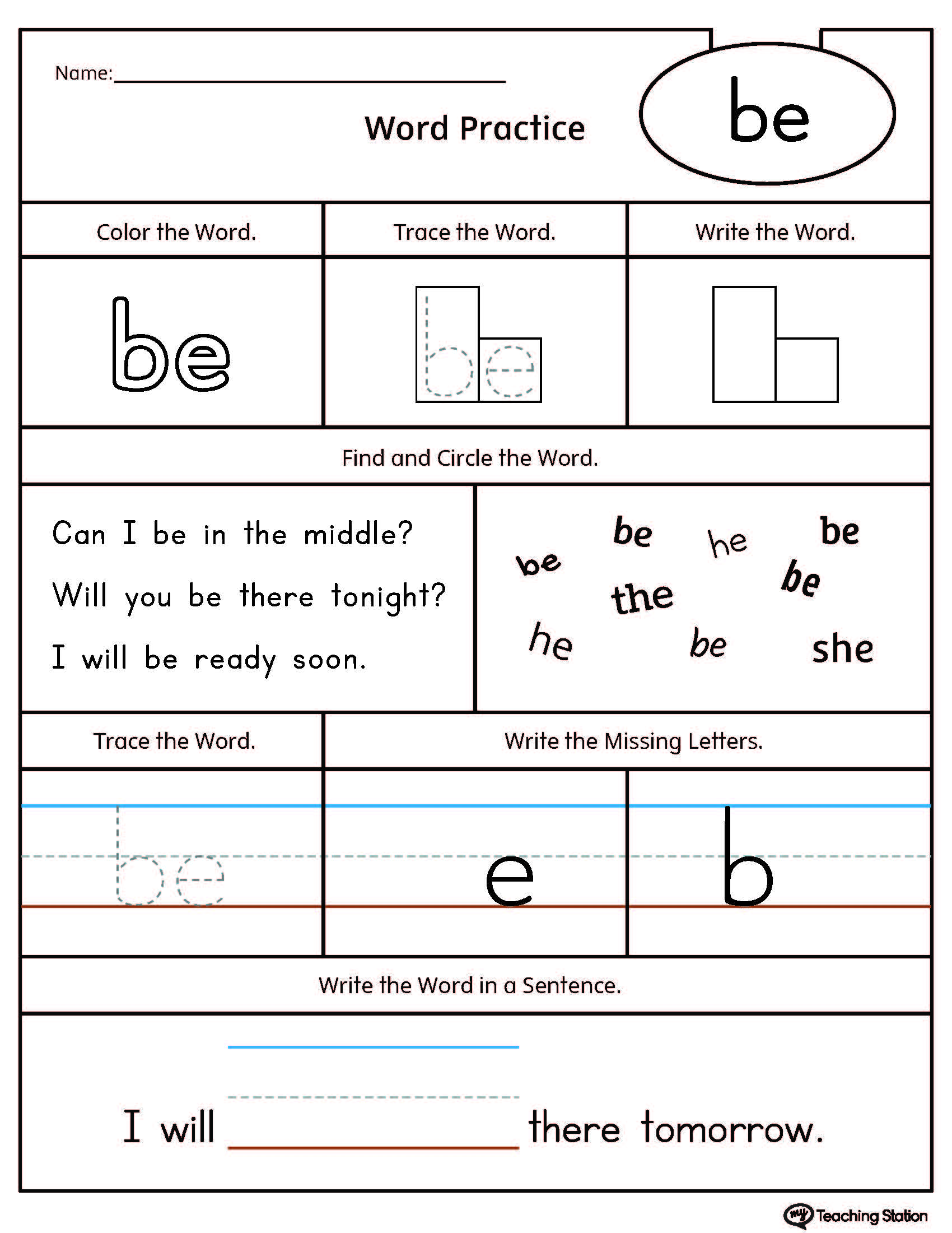 HighFrequency Word BE Printable Worksheet – High Frequency Words Kindergarten Worksheets