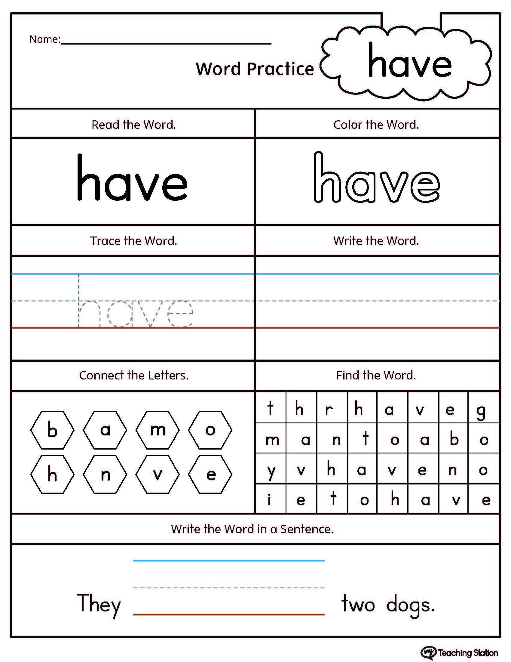 Kindergarten High Frequency Words Printable Worksheets – Kindergarten Word Worksheets