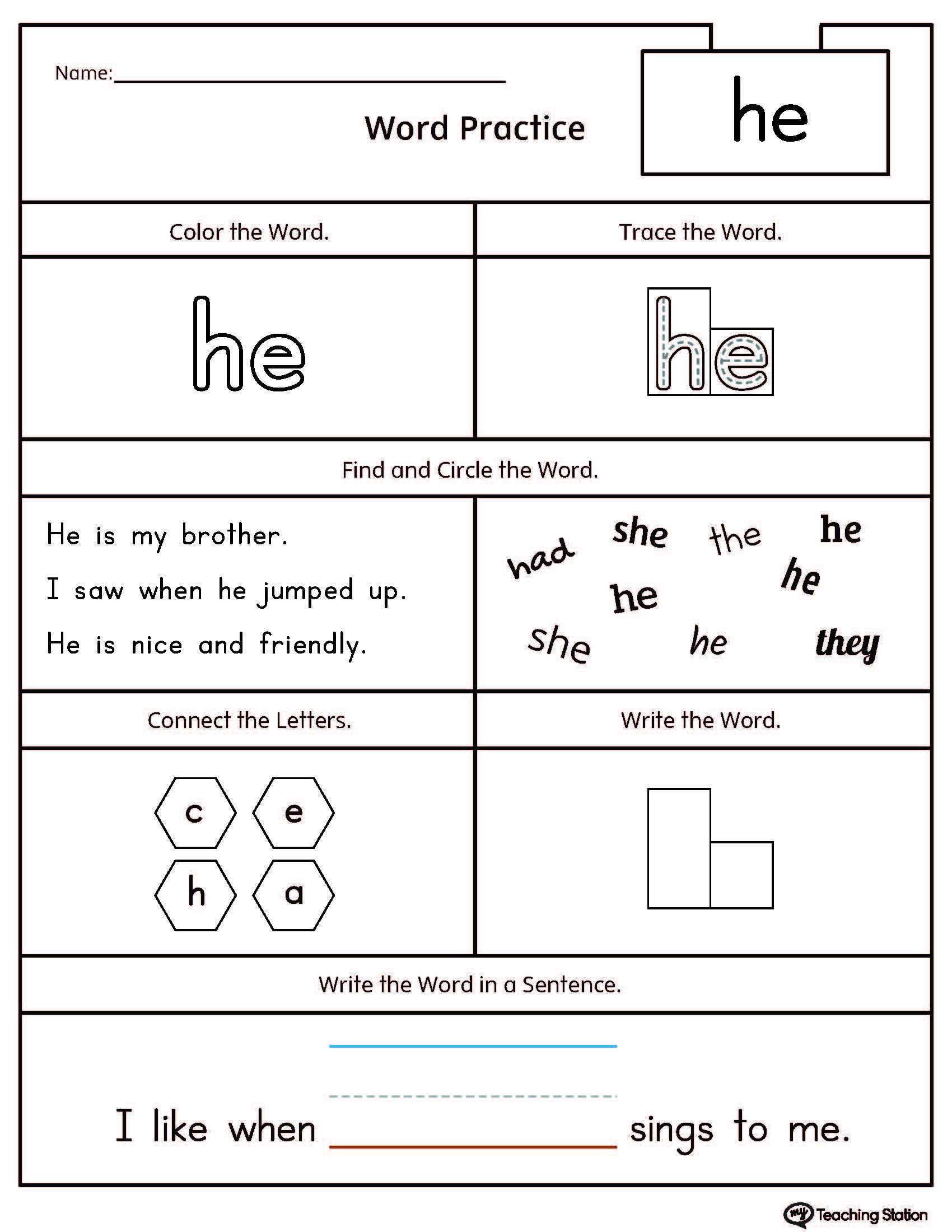 worksheet Site Word Worksheets high frequency word he printable worksheet myteachingstation com worksheet