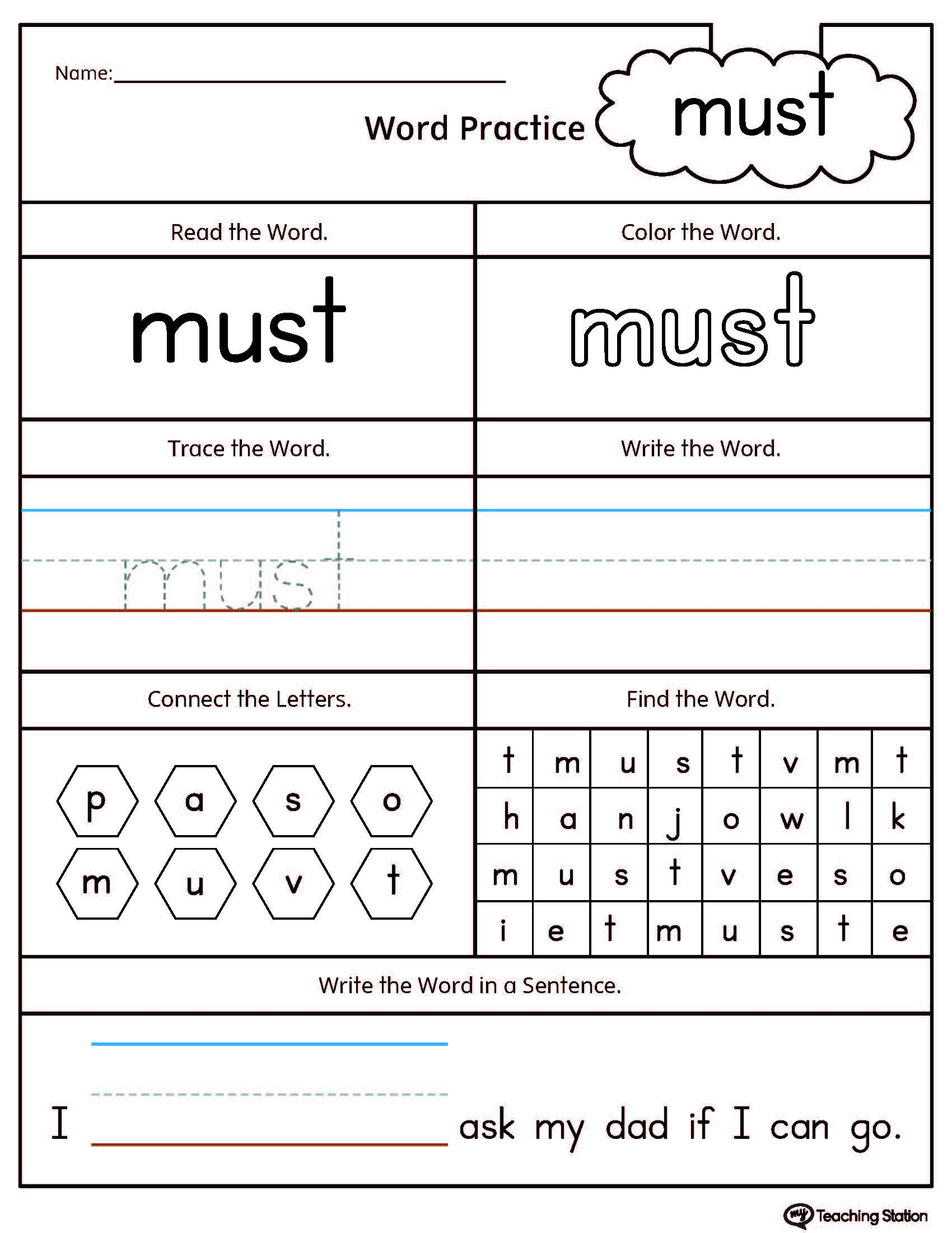 worksheet Dot To Dot Name Tracing Worksheets high frequency words printable worksheets myteachingstation com word must worksheet