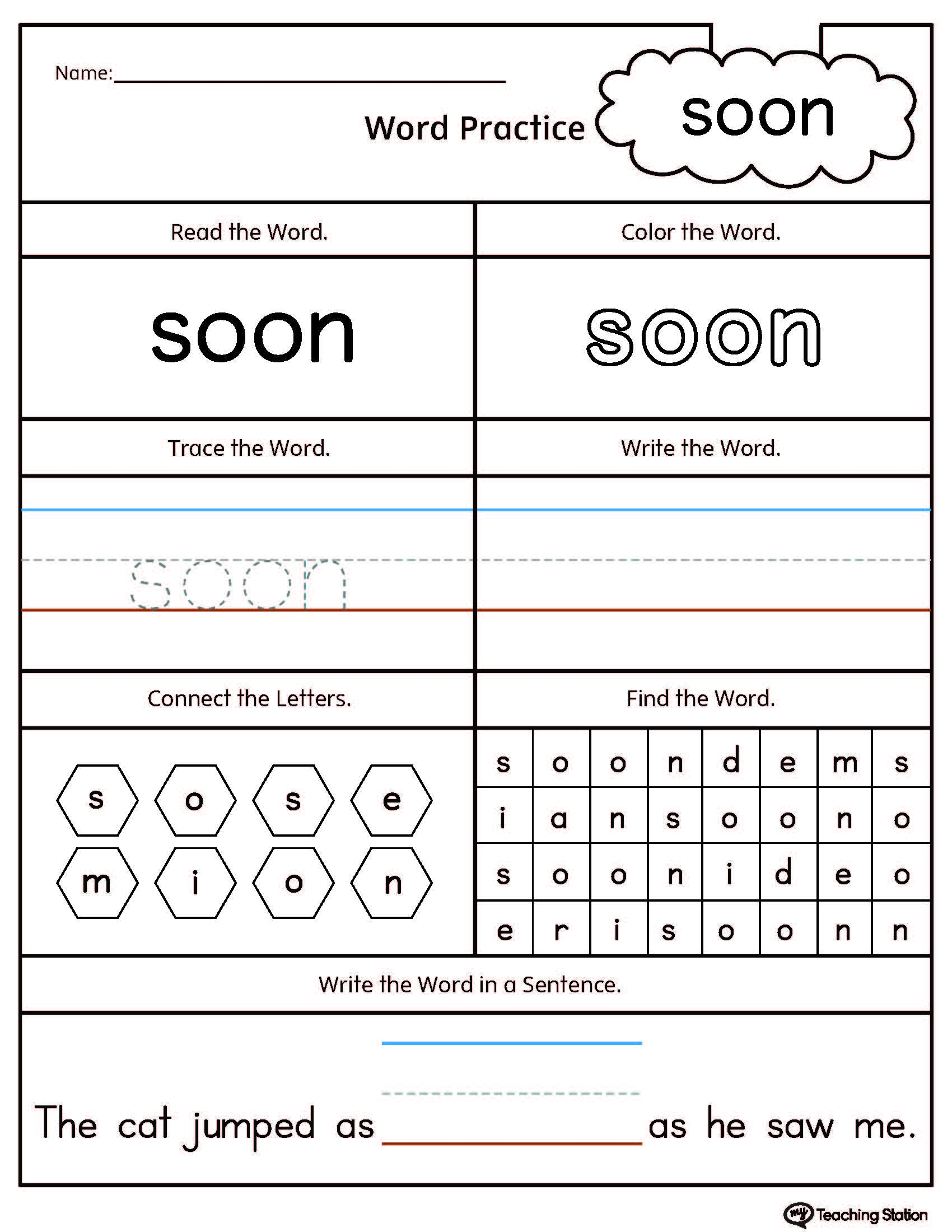 High Frequency Word Soon Printable Worksheet