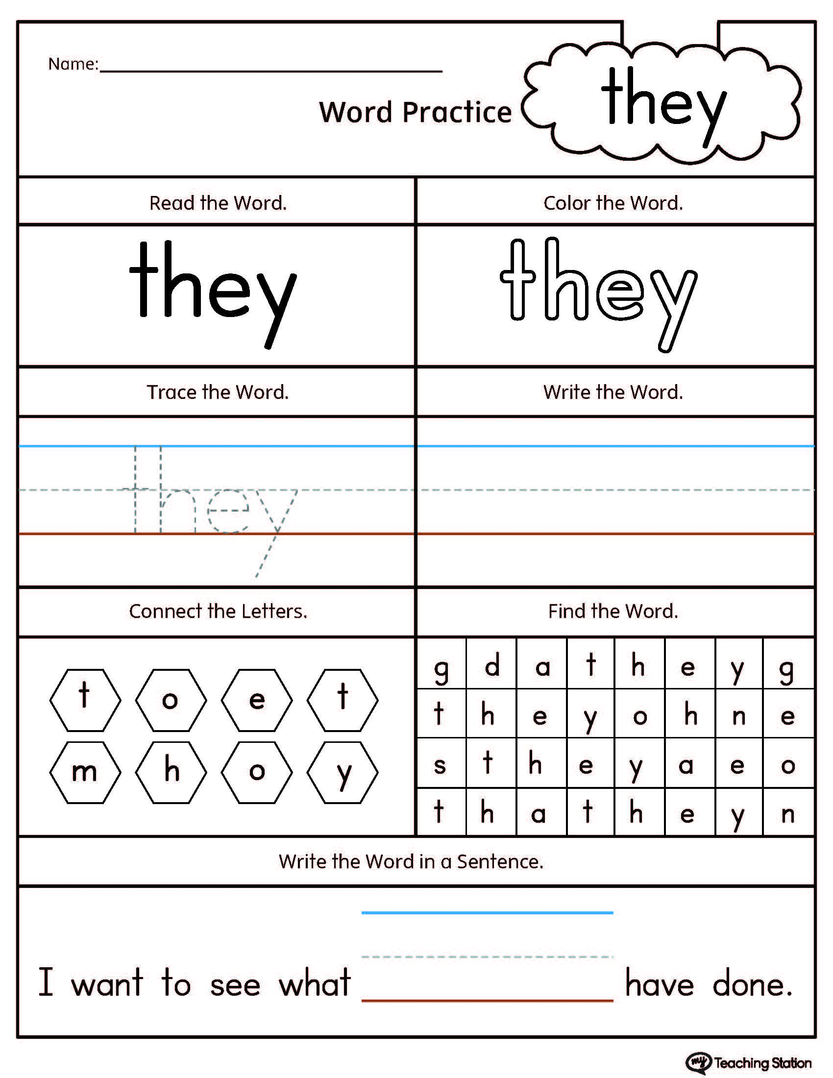 high frequency word they printable worksheet. Black Bedroom Furniture Sets. Home Design Ideas