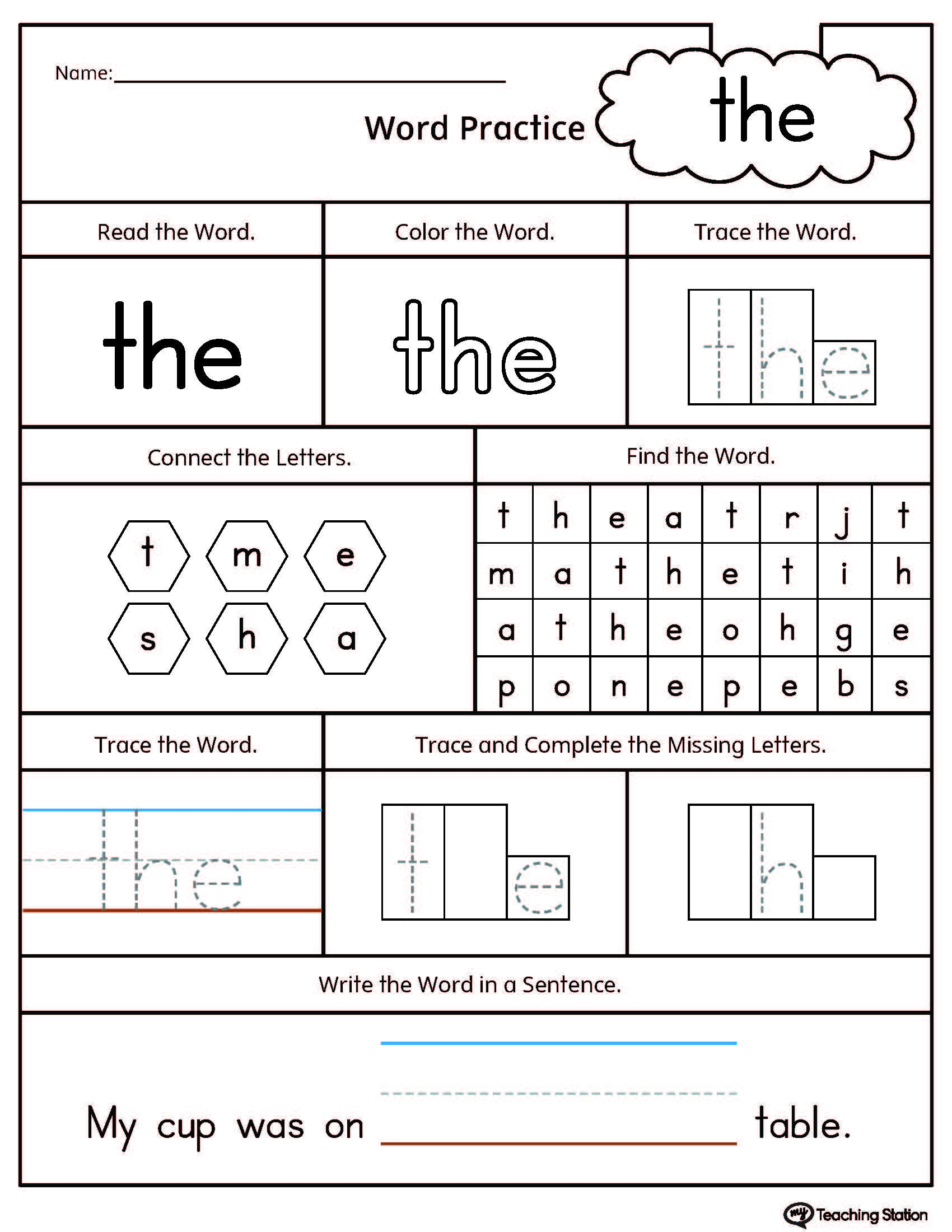 Sight Word The Printable Worksheet Myteachingstation Com