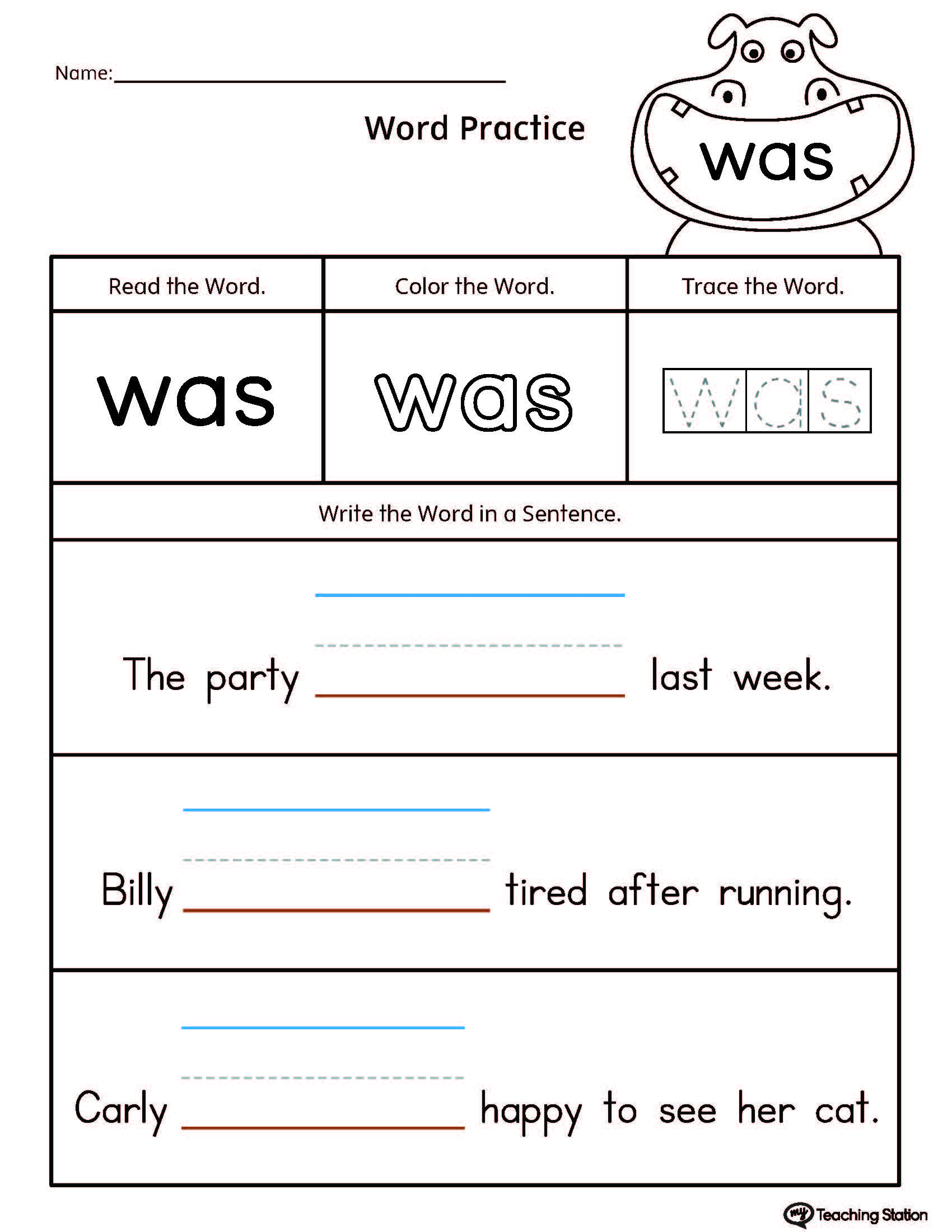 Build Sentences Using Sight Word Was Myteachingstation