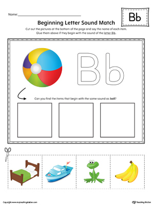 letter b beginning sound picture match worksheet color