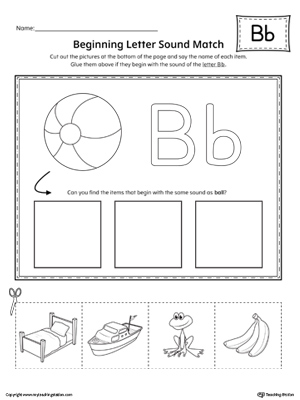 Beginning Letter Sound Match Letter B Worksheet on traceable letter worksheets