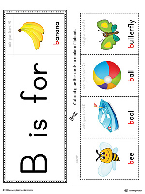 Letter B Beginning Sound Flipbook Printable (Color)