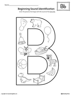 Letter B Beginning Sound Color Pictures Worksheet